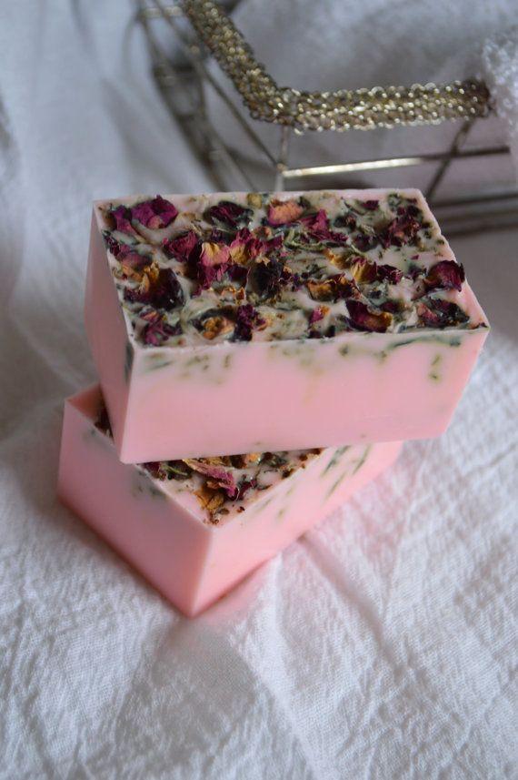 Rose scented Goat Milk Soap. 4 oz bar soap, real rose petal rose soap. Fresh cut roses.