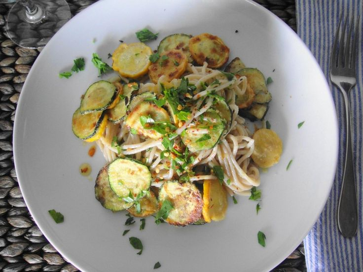 """Fried zucchini spaghetti from freshnessgf.com. Adapted from Gwyneth Paltrow's book """"My Father's Daughter"""""""