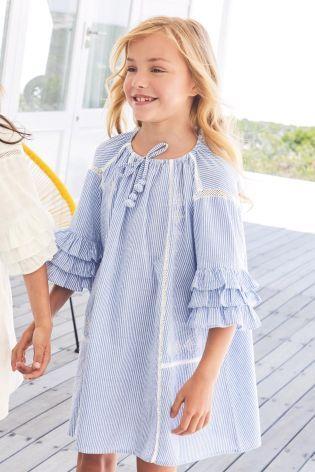 41ec7f8e1fd4 Buy Blue Ruffle Dress (3-16yrs) from the Next UK online shop