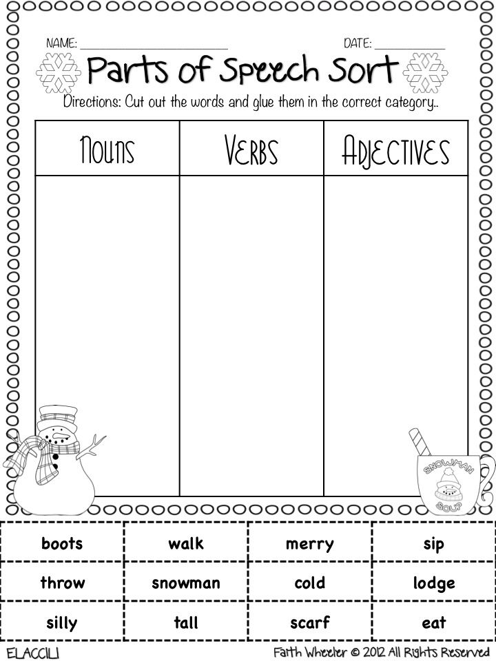 Printables Parts Of Speech Worksheets For High School 1000 ideas about parts of speech on pinterest grammar adverbs freebie sort would be excellent for follow along with smartboard one