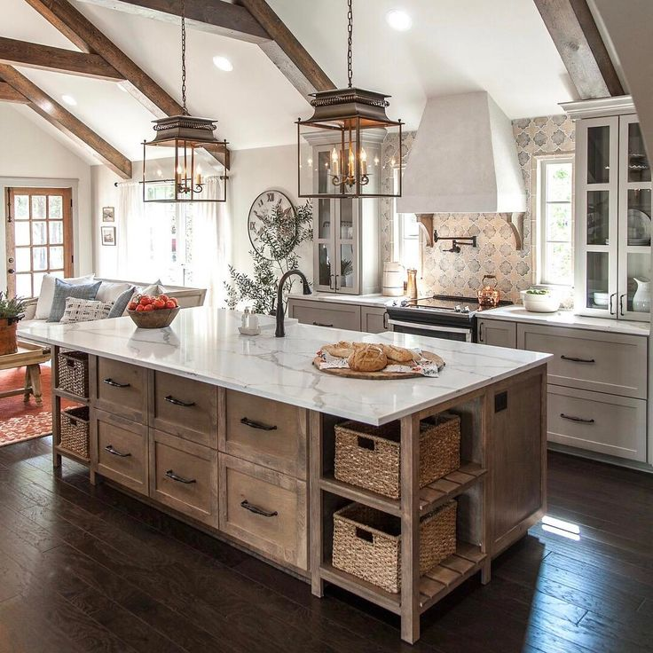 Love the wood with gray and white counter tops