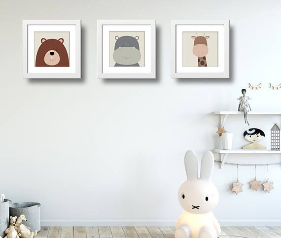 Animal Nursery Set of 3. Bear, Giraffe, Hippo. PRINTABLE posters.  Ordering this printable poster is easy... --------------------------------------------------------  This listing is for the poster pictured above in PDF and JPG format in the following sizes: ✱ 8x8 inches  20x20 cm ✱ 12x12 inches  30x30 cm ✱ 16x16 inches  40x40 cm -------------------------------------------------------- How to order: 1. Place this listing in your shopping cart. 2. Click on checkout. 3. Complete payment. 4…