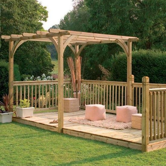 Small deck with integral pergola gardening ideas pinterest for Garden decking ideas pinterest