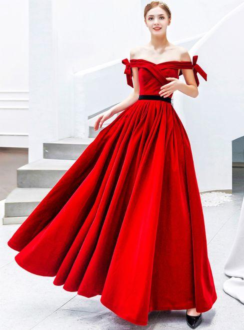In Stock:Ship in 48 Hours Red Velvet Off the Shoulder Prom