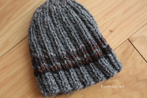 mens knit beanie by everyday art bulky 5 wt yarn sz 10