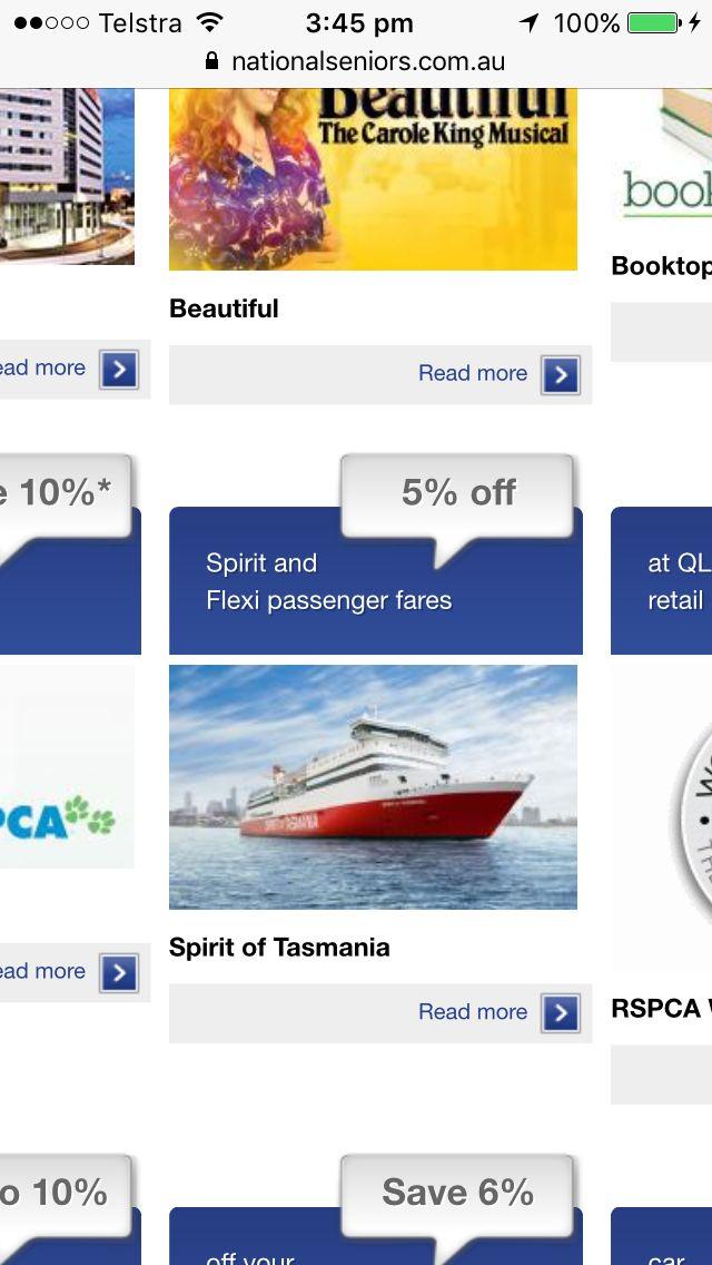 Spirit of Tasmania - save w seniors membership 2/2