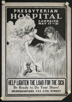 Poster ID: CL57508 Size: 20 x 14 inches = 51 x 36 cm Condition: Good Price: $200 Original Title: Presbyterian Hospital Campaign - Help Lighten the Load Designer: Paul Bringle Year of Poster: 1920s Category: Political/World War I Country of Poster: American Available: Yes Notes: Window card. Paul Bringle was a Denver, CO based illustrator and cartoonist. He was actively illustrating from the 1920s-1970s. It advertises a fundraising campaign for the Presbyterian Hospital in Denver. Done on a…