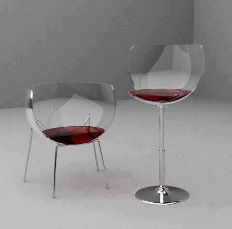 Merlot Chairs - Le mobilier prend ici la forme d'un verre rempli de verre. La forme du mobilier est donc détournée ou le verre est détourné en mobillier. On est ici trompé par l'esthétique.