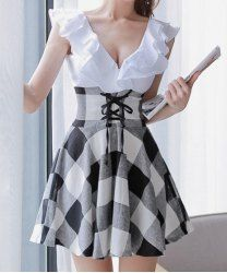 $10.30 Checked Preppy Style V-Neck Lace-Up Selvedge Design Dress For Women