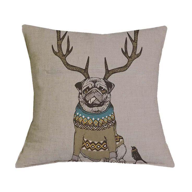 1 - Bull Dog Antlers Pillow Case