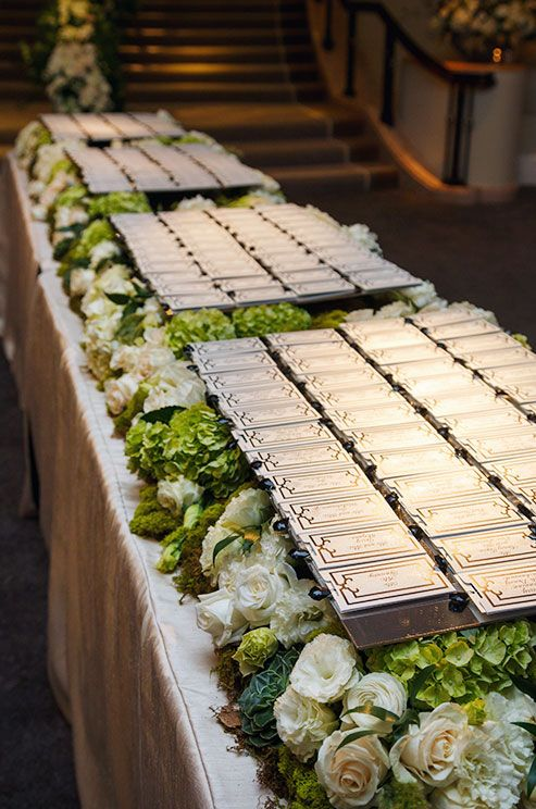 100 best escort cards images on pinterest pepper orange park and wedding escort cards are perched on antiqued mirrors atop a bed of white roses ranunculus hydrangeas and succulents solutioingenieria Images