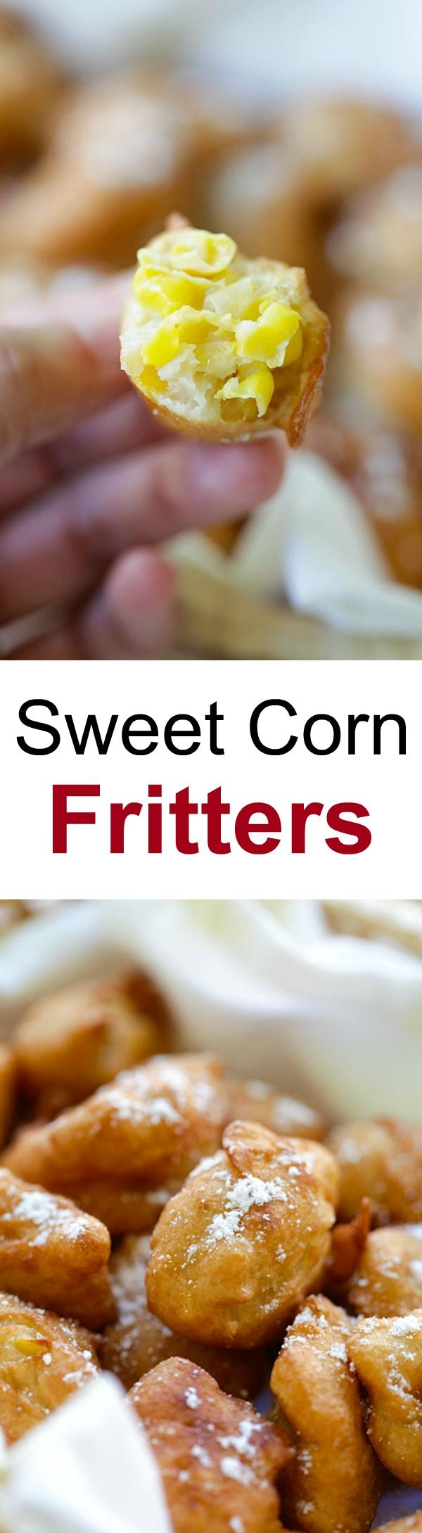Sweet Corn Fritters – crispy, sweet fried fritters made with creamed corns. Takes 20 mins to make, so easy, so good & best for Game Day | rasamalaysia.com #meatlessmondaynight #ad
