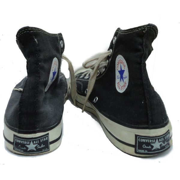 vintage 1960s CONVERSE Chuck Taylor All Stars Hi Top Black Sneakers 10... ($599) ❤ liked on Polyvore featuring shoes, sneakers, converse, trainers, black evening shoes, high low tops, black hi top sneakers, hi low tops and vintage shoes