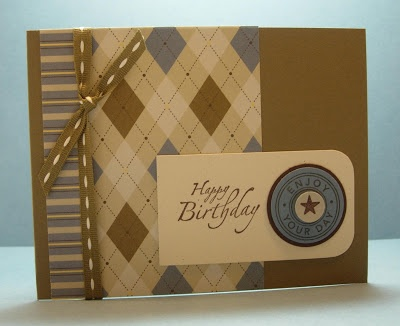 handmade birthday card from i STAMP by Nancy Riley: MASCULINE CARDS ... luv the almost monochromatic look and mixture of two patterned papers ... godde design lines that would make a lovely card in many toerh variations ... Stampin' Up!