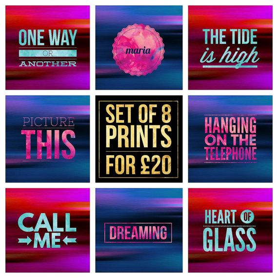 "Set of 8  Blondie Song Title Prints - Square 8x8"" Each - Quote 80s Debbie Harry Pop Music Lyric Typography - Poster Wall Art Gift Mancave #blondie #debbieharry #poster #onewayoranother #maria #thetideishigh #picturethis #hangingonthetelephone #callme #dreaming #heartofglass #poster"