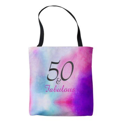 50 and Fabulous | 50th birthday Pink and Purple Tote Bag  $21.10  by Just_Fine_Designs  - custom gift idea