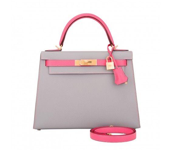 Hermes HSS Bi-Color Gris Mouette and Rose Azalea Epsom Sellier Kelly 28cm Brushed Gold Hardware