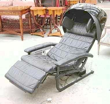 PIONEER BODYSONIC CHAIR, black leather upholstered with fitted Pioneer stereo cassette tape player, capsule speakers