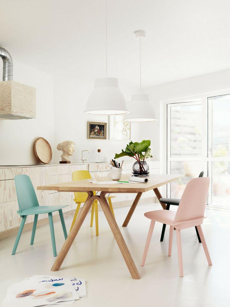 Eetkamer met gekleurde stoelen #diningroom