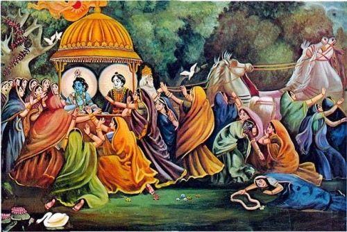 When krushna left for Mathura....