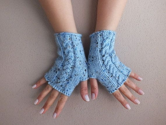 eldiven, örme eldiven, parmaksız eldiven, mavi kırçıllı eldiven, Parmaksız eldiven mavi eldiven rahat eldiven ücretsiz kargo kol ısıtıcıları on Wanelo