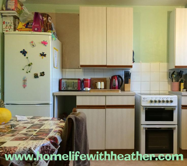 Painting Melamine kitchen units, cupboards, drawers and cabinets. Before photo