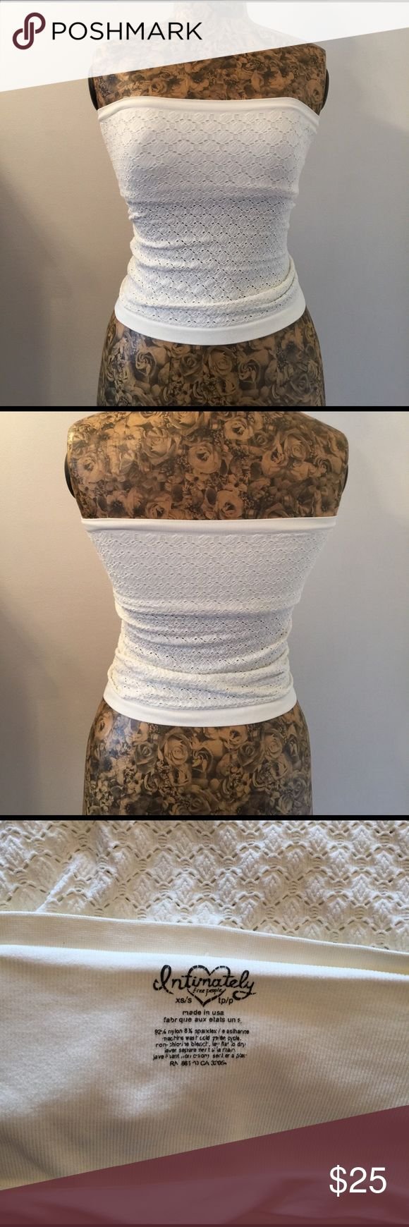 Free People tube top Cream colored, worn twice (like new condition). Built-in spandex bandeau style bra :-) Free People Tops