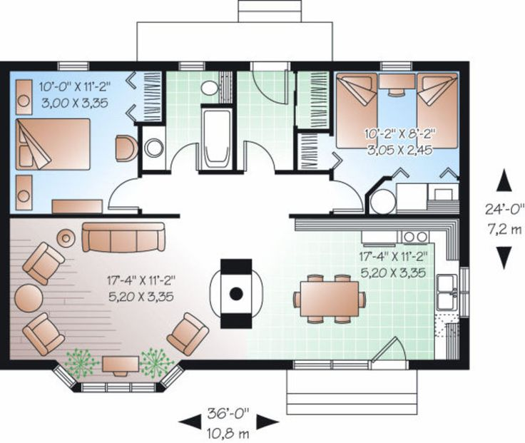 Cottage Style House Plan - 2 Beds 1 Baths 874 Sq/Ft Plan #23-754 Floor Plan - Main Floor Plan - Houseplans.com