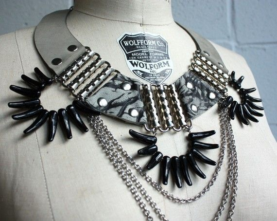 Battle Necklace - Grey Leather, Marbled Leather and Glass Spikes. $149.00,  via Etsy