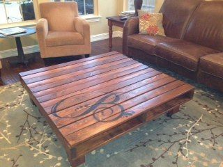 monogrammed pallet table. I like this for outdoor space maybe even a bit more rustic by connie.yatesbiddinger