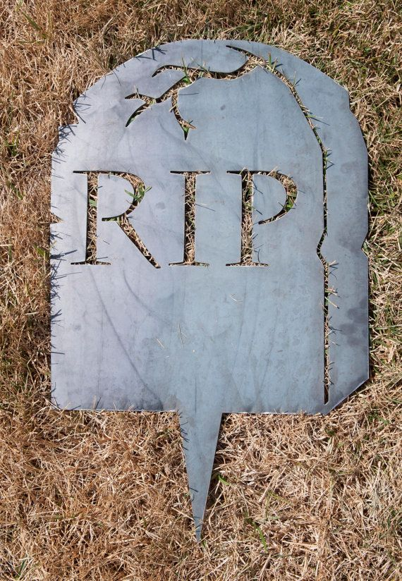 """Tombstone, Halloween Tombstone, Halloween lawn decoration, 24x15"""" with a spike to set in the ground, American made with American steel"""