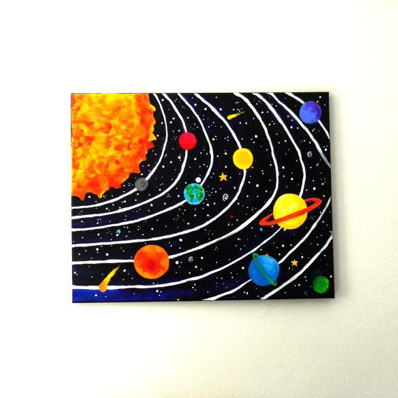 This is the largest solar system I have painted so far. It is also the first with a black background.   Art for Kids SOLAR SYSTEM No4 20x16 acrylic canvas by nJoyArt.