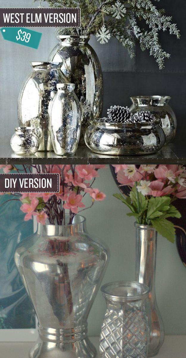 Transform old vases by adding a mercury glass effect. | 24 West Elm Hacks