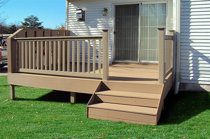 Do It Yourself Home Design: Small Deck Replacement Using Azek Brownstone Decking And