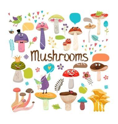Cute cartoon mushrooms with faces vector cartoons - by neyro2008 on VectorStock®