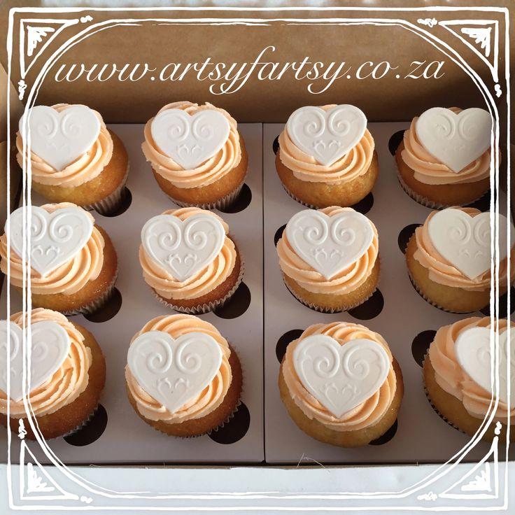 Peach Heart Cupcakes #peachcupcakes #heartcupcakes