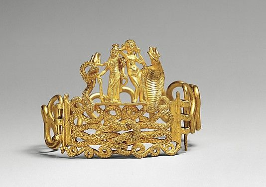 Bracelet with Agathodaimon, Isis-Tyche, Aphrodite, and Terenouthis, gold, Roman, 1st century BC-AD 1st century