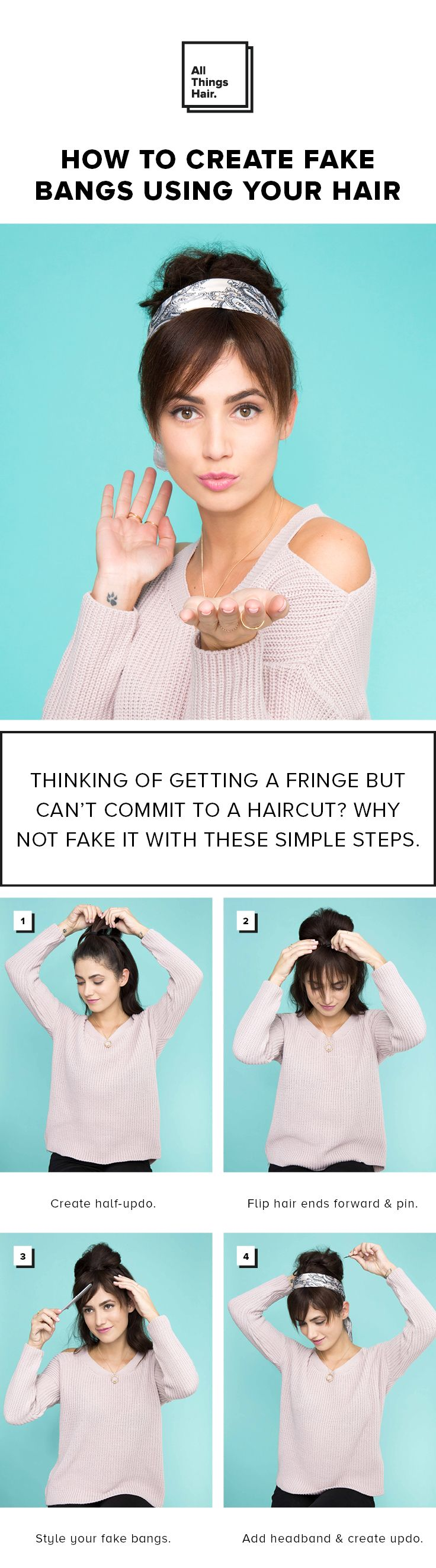 Ready for a bangin' new look? Here's how you create fake bangs with your own hair. #Ad