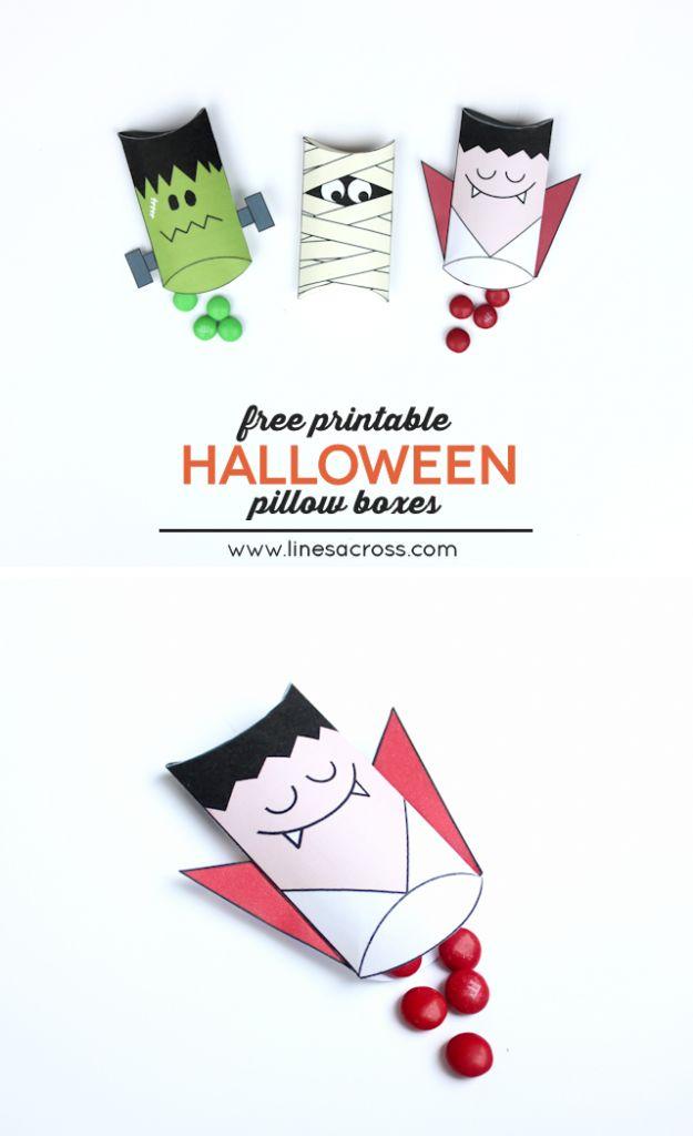 Halloween Pillow Boxes. Cute idea for school halloween parties.
