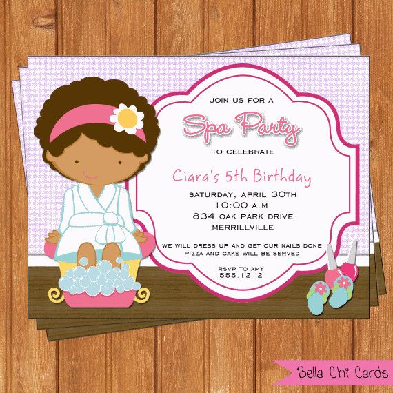 8 best images about Diva Spa Party Zebra Print hot pink – Kids Spa Party Invitations