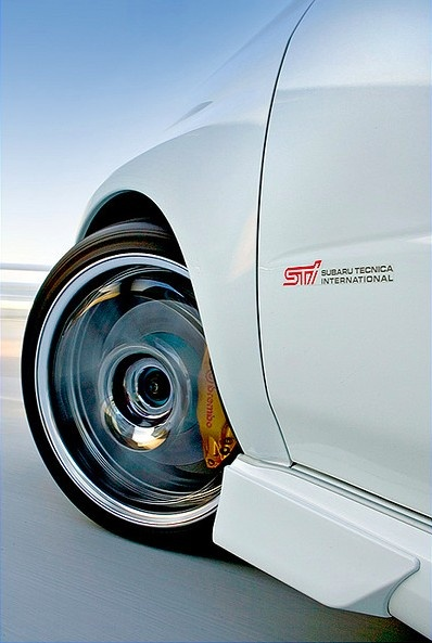 White Subaru Wrx Sti With Advan Chrome Rims Gold Brembo