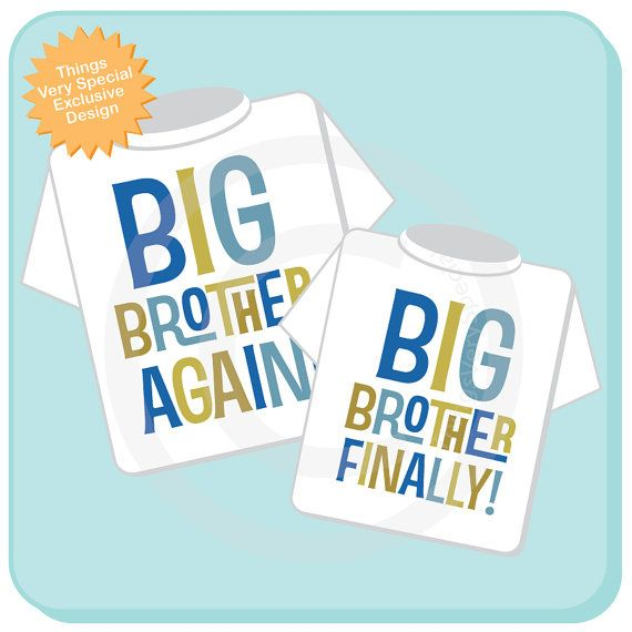 Set of Two Boys Sibling Big Brother Again and by ThingsVerySpecial, $28.99