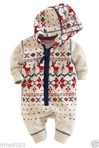 This is adorable! Augie needs this for this winter. Next Baby Boys Christmas Print Hood Sleepsuit | eBay