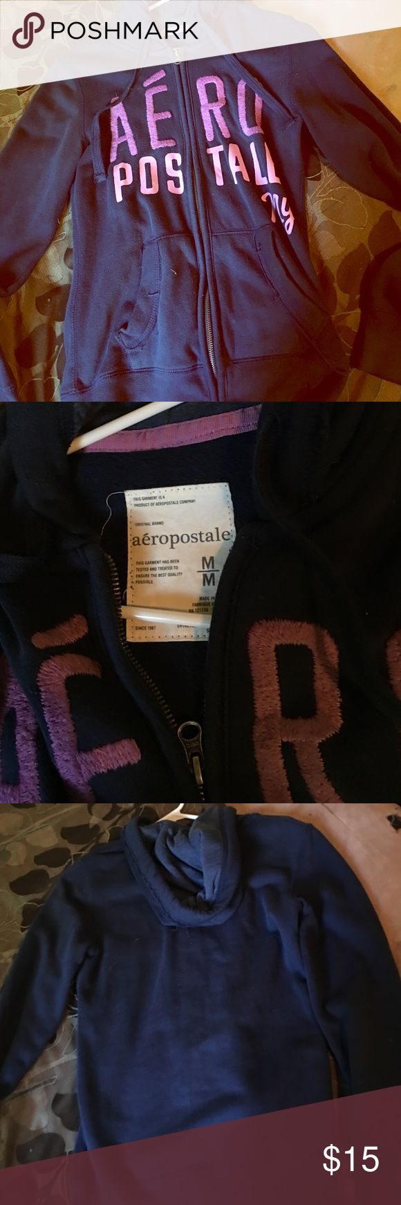 Aeropostale women's blue/purple hoodie Zip up women's navy blue hoodie! Front says aero postle ny on it! Zip up front, hood, and plain back, front pockets Aeropostale Jackets & Coats