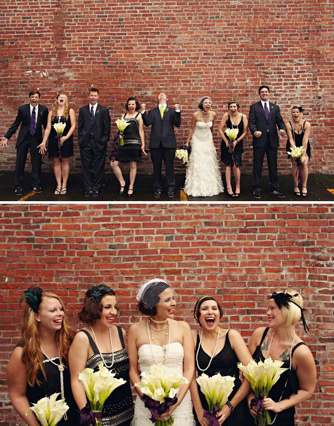 1920s inspired wedding party lilies