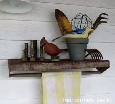 turn a tool caddy upside down for a potting shed shelf and towel holder--this would be so cute over an outdoor sink
