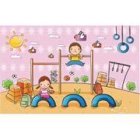 cute children cartoon clip art playing in landscape park vector kids illustration