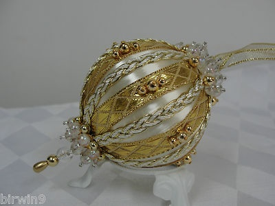 Ornament, handcrafted with vintage ball.