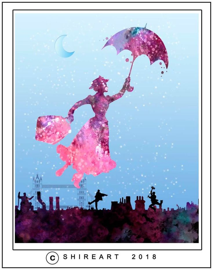 Mary Poppins Flying over London
