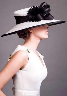 Rachel Trevor-Morgan millinery, Fine straw boater with tailored bow and feather flower. #passion4hats